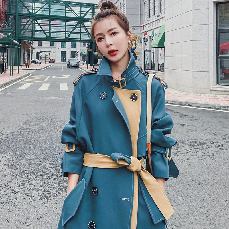 Windwear womens medium-length version of the 2021 spring dress new British style temperament goddess Fan Yi feeling stitching this years popular coat