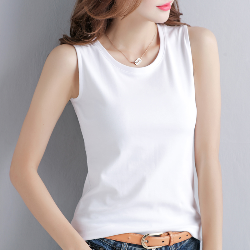 2 pieces of 49 yuan . . . 2021 new spring and summer sling vest womens inner and outer wear bottoms Korean version of the white t-shirt female tide