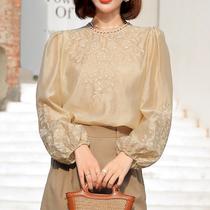 European goods Tian silk French shirt women thin early autumn 2021 new design sense niche bubble sleeve High sense top