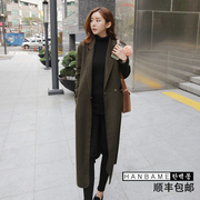 2017 Korean new Clubman plus cotton wool coat female knee thickening thin woolen coat coat