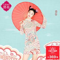 Liebo style retro print cheongsam