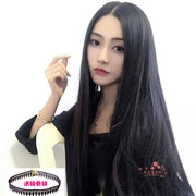 Female wig long straight hair in bangs half head no trace U realistic contact head and long black hair extensions