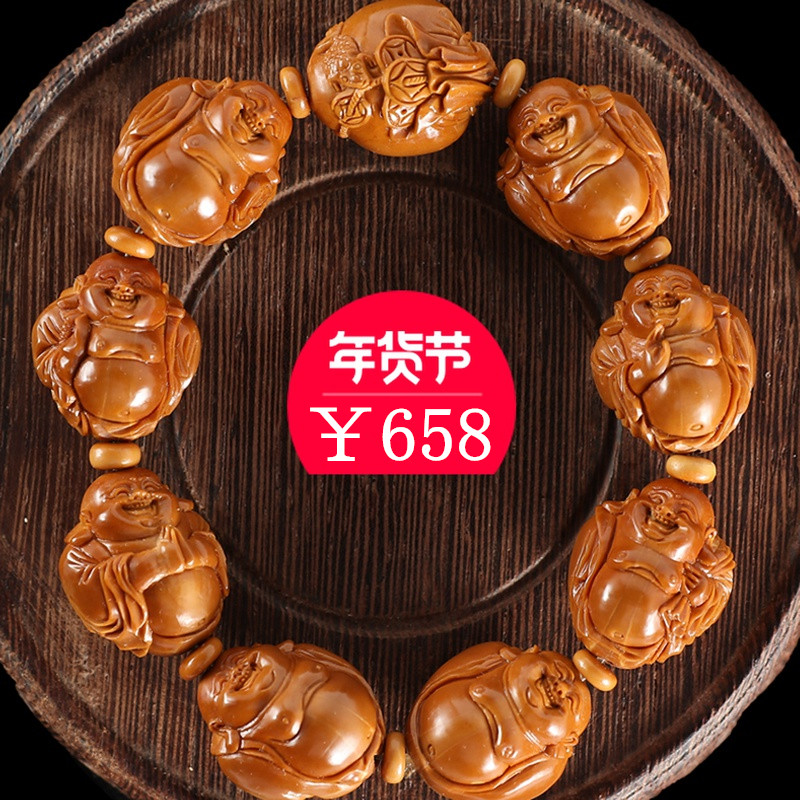 Eight Treasure milver olive nuclear string pure hand-carved Soviet iron nuclear olive hand錬 men and women play jewelry
