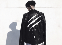 SuaMoment 17ss new spring blood claw marks black gold scratch skin clothing couple slim fit leather jacket