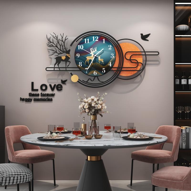 Horloge murale de salle de salon de maison atmosphérique nordic light luxury fashion modern watch creative wall simple net red clock hanging style