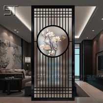 New Chinese art glass entrance hall living room office frosted translucent screen partition tempered background wall round