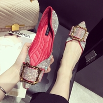 2018 buy summer Rhinestone pointy shallow mouth boat shoes