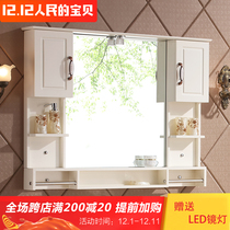 Nordic simple solid wood bathroom mirror box toilet mirror cabinet locker storage cabinet combination bathroom Mirror cleaning mirror cabinet Custom