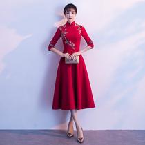 Red Retro autumn wedding Chinese toast suit