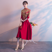 Summer Chinese elegant wine red toast dress