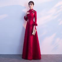 Red winter thickening warm evening dress