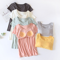 Modal cotton with chest pad Short-sleeved bra-free pajamas Womens single-piece top Home clothes Summer thin half-sleeve T-shirt