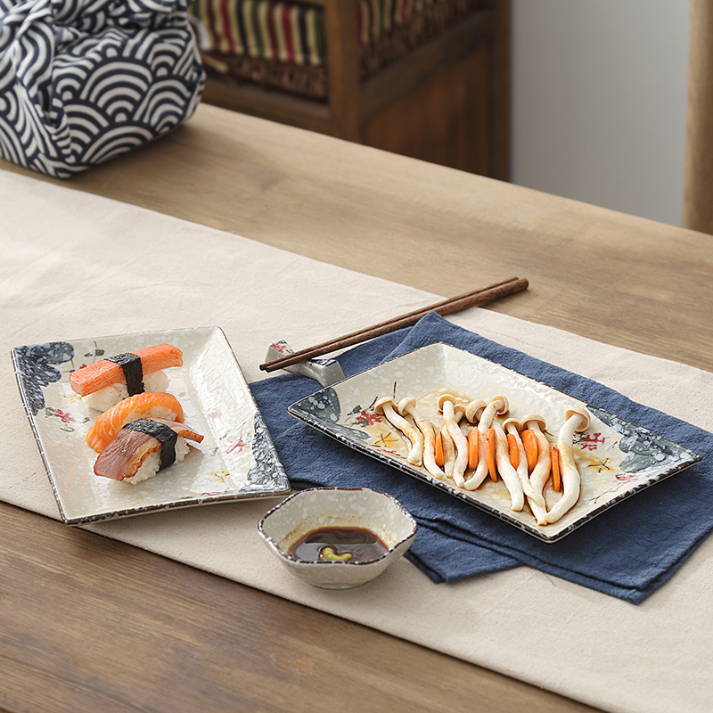 Japanese hand-painted underglazed sushi ceramics dishes, dessert dishes, vegetable dishes, fruits, rectangular dishes, hotel ceramics and tableware