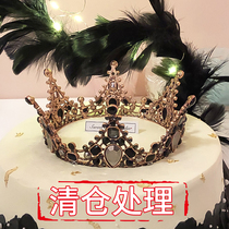 Crown cake decoration children adult princess wedding pearl bride dress up net red birthday party
