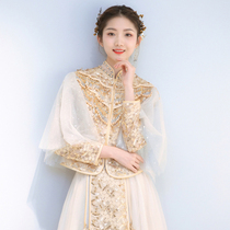 Xiuhe uniform bride 2021 New champagne wedding dress Chinese wedding dress out of pavilion clothes dragon and phoenix coat show and spring