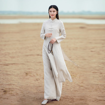 Tang dress dress ethnic Chinese wind female suit two sets of Zen retro womens cotton Chinese qipao shirt