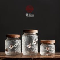 Xin Yufang Acacia wood tea tank glass tea storage sealed storage tank hammer grain portable storage tank storage tank single tank