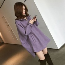 Loose thin medium-length version of the hooded sweatshirt womens 2020 autumn winter new large size womens dress cashmere wool coat