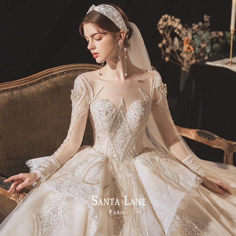 Long-sleeved wedding dress 2020 new temperament autumn and winter bride Mori super fairy dream luxury European high-end