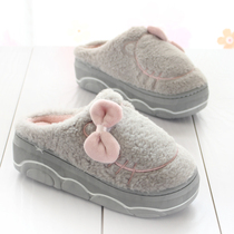Thick bottom non-slip home cotton slippers women Winter Warm Up with plush tow fashion new indoor and outdoor wear month