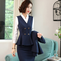 Professional dress women marquee suit set fashion stewardess uniform hotel front desk beautician interview office overalls