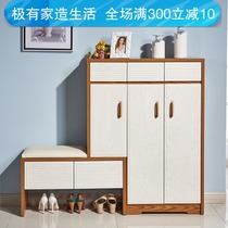Nordic Solid wood shoe cabinets simple modern foyer cabinets simple multi-function Gateway large capacity shoe cabinet with shoe stool