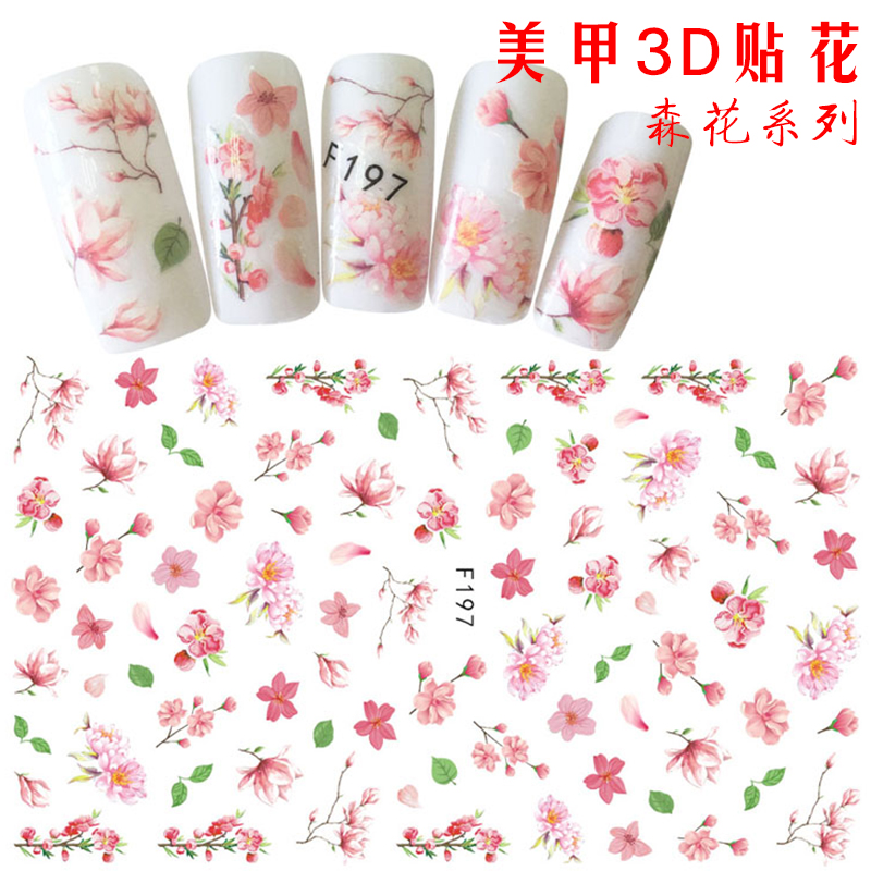 [The goods stop production and no stock]Jiabin 3D Nail Applique Smudged Flower Patch Ink Dye Flower Size Dried Flower Phototherapy Nail Polish Glue Nail Sticker