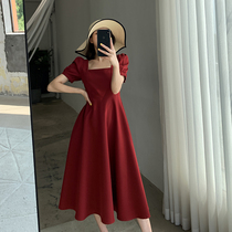 FT GUOGE red dress womens 2021 summer new square collar French retro temperament bubble sleeve engagement dress