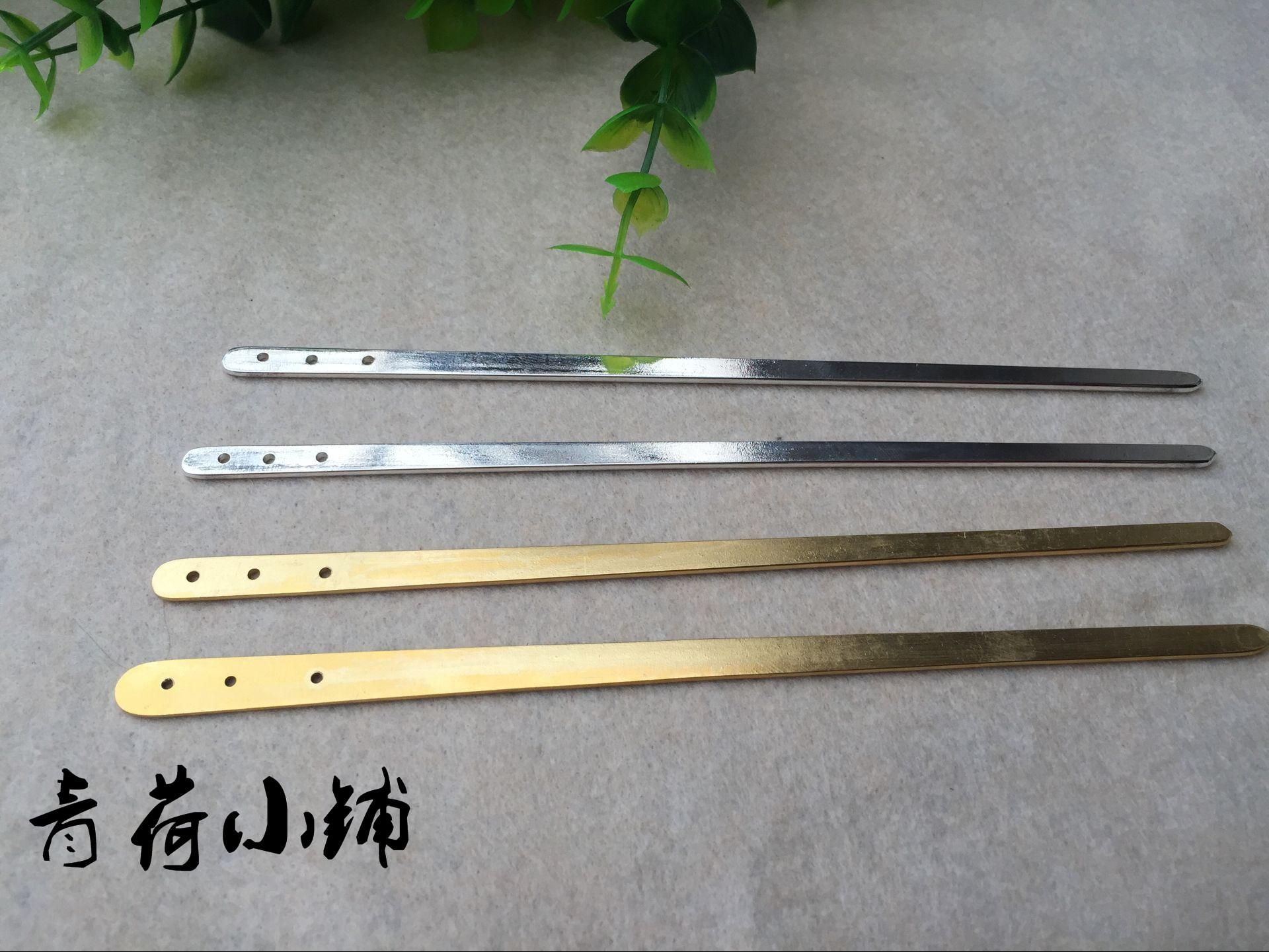 青荷 DIY饰品配件 全扁三孔纯铜髮簪 15釐米金银色