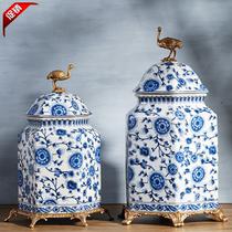 European American new Chinese green flower ceramics with copper storage tank decoration Villa Xuan Guan luxury general tank furnishings