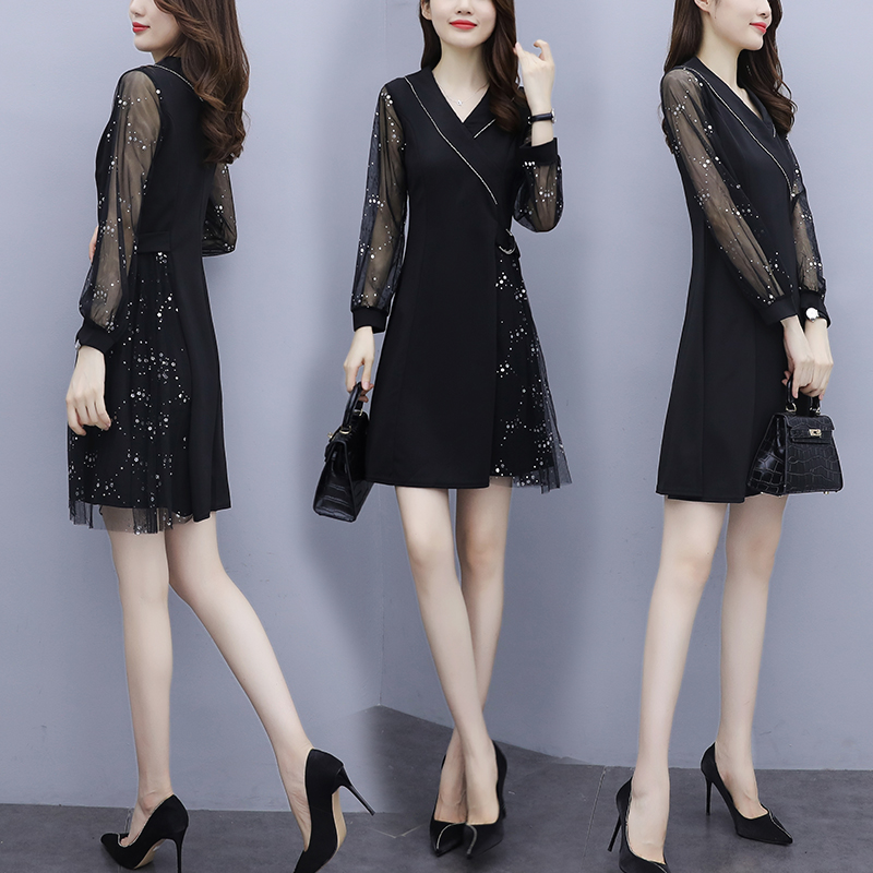 French mesh small black skirt 2021 new spring big size women decoration body show thin weight fat mm temperament dress