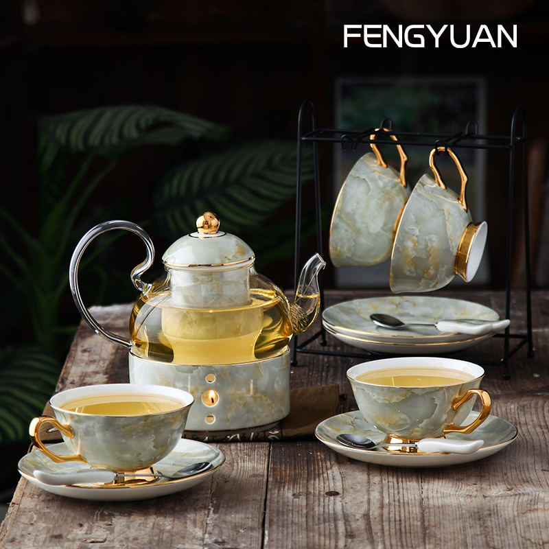 The whole set of flower and herbal tea sets home fruit teapot ceramic flower tea sets high temperature glass English afternoon tea sets