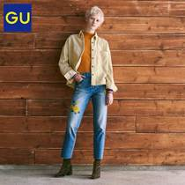Throat of the GU women wear embroidered jeans (wash) 292447 excellent
