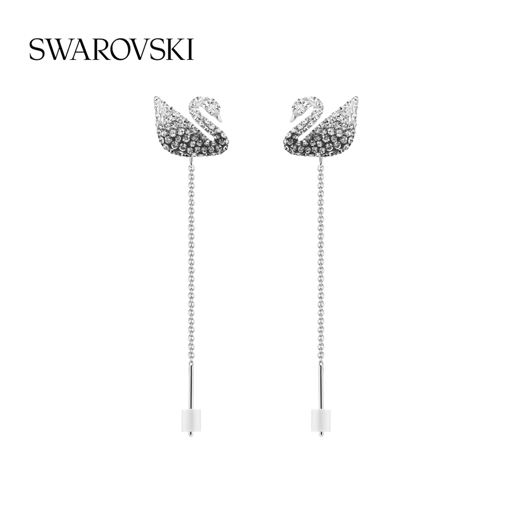 (New) Swarovish black and white gradient swan ICONIC SWAN womens earrings gift to girls