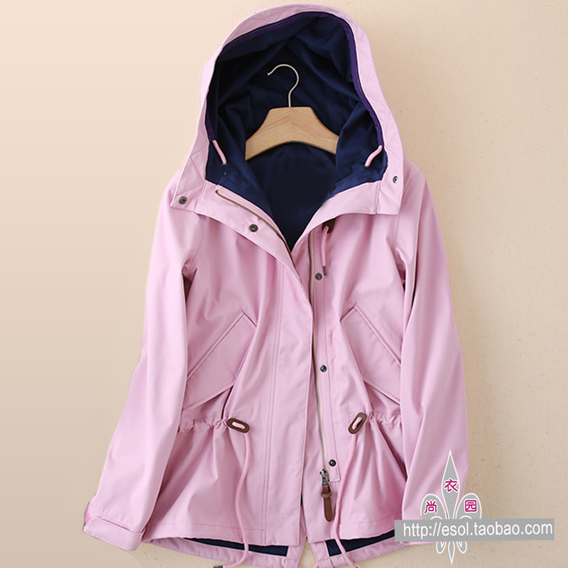 Outdoor single-layered jacket spring and autumn sports casual windproof waterproof breathable functional rubber hooded windbreaker women