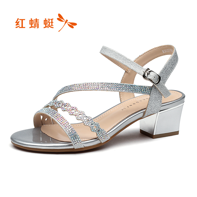 Red 蜻蜓 women's shoes 2018 summer new fashion sweet beauty sandals wild thick with a word buckle sandals women's shoes summer