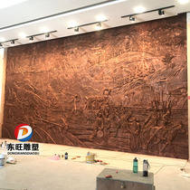 Forged copper relief 8th Route Army Red Culture Anti-Japanese War theme campus characters glass and steel relief background wall