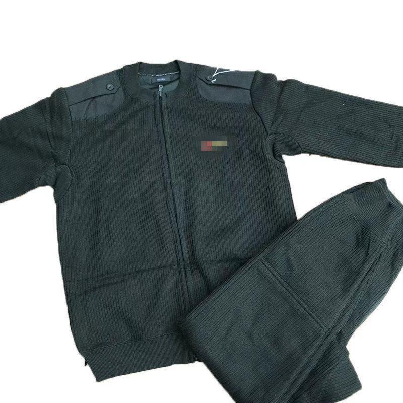 Velvet pants olive green zippered velvet pants set outdoor autumn and winter cold sweater pants