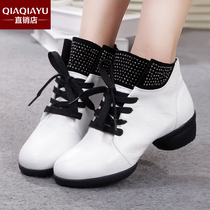 Exactly fish spring autumn new square dance shoes real cowhide dance dancing shoes modern shoes soft bottom breathable
