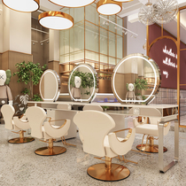 Stainless steel marble net red hot dyeing table Hair shop mirror Barber shop cabinet One-piece hair salon special mirror table