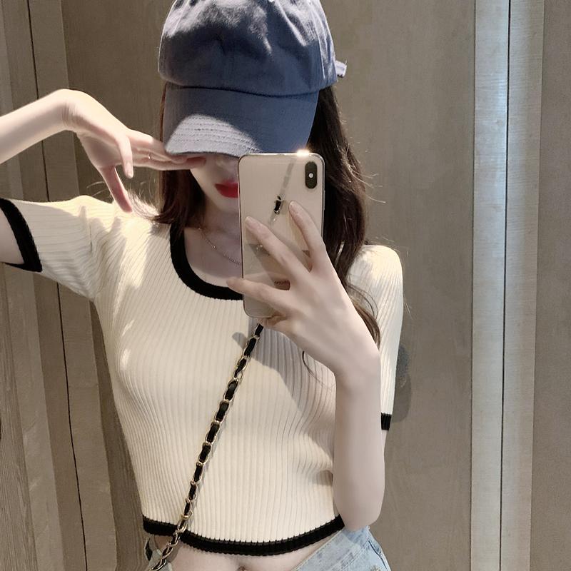 Net red t-shirt female ins super fire short slim high waist short sleeve sexy umbilical base shirt Knitted thin tops summer