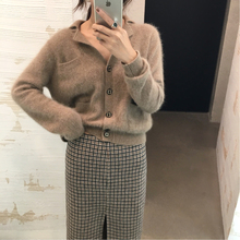ASM 2018 winter new style Lapel knitted cardigan, short, loose fitting sweater, sweater.