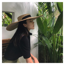 European and American fine straw oversized brim strap straw hat magazine stage styling tie hat seaside holiday Beach hat