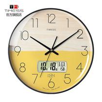 TIMESS clock 錶 wall clock living room home fashion creative wall simple quartz electronic punch-free light luxury clock