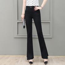 Casual pants womens summer high waist thin temperament versatile professional trousers Drop sense thin stretch straight flared pants