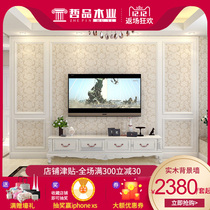 ZHE TV background wall border line frame decorative frame solid wood frame TV wall styling frame European Wall Board
