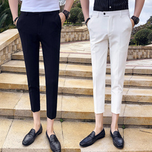 9 points small trousers male Slim feet British style casual pants wild summer pants male Korean version of the trend of nine pants