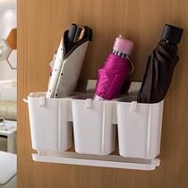 Creative umbrella storage Barrel household waterproof rack multifunctional foldable umbrella storage door rear hanging wall frame