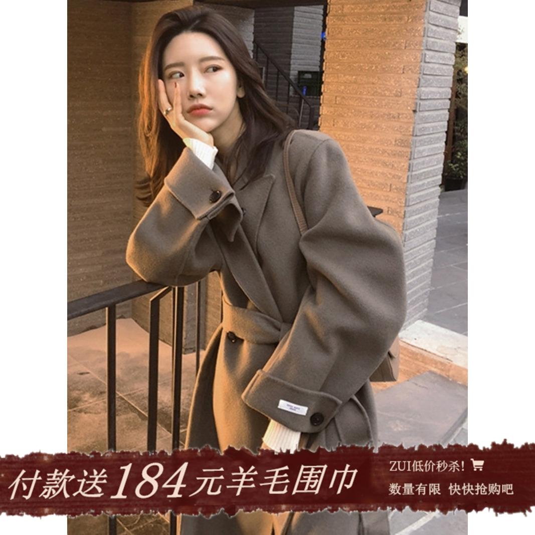 2020 autumn winter new Hepburn wind double-sided cashmere coat female Korean version of the long version of wool gentle coat