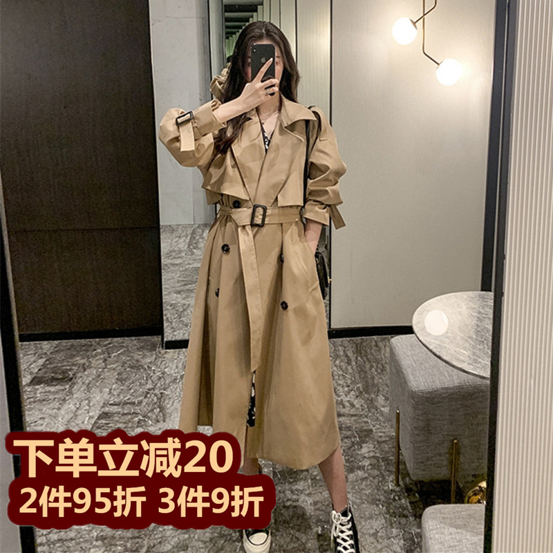 Windbreaker womens medium-long 2021 spring summer new item Korean version small British Hepburn style fashion jacket female tide